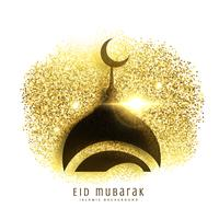 mosque design on golden glitter, eid mubarak greeting background
