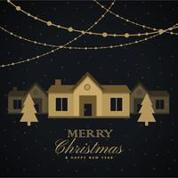 amazing merry christmas seasonal greeting with house and trees