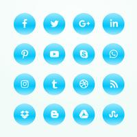 blue social media network icons set
