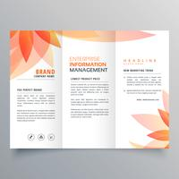 beautiful orange leaf tri fold business brochure vector design