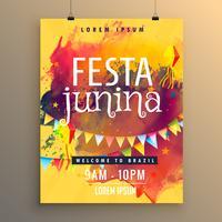 Plantilla de invitación para el diseño del festival festa junina.