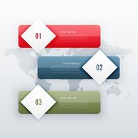 modelo moderno infográfico de três etapas