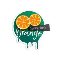 orange fruit label for summer season