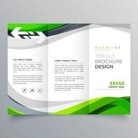 moderno criativo modelo de folheto de negócios com três dobras com ab verde