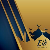 creative muslim eid festival greeting in golden color