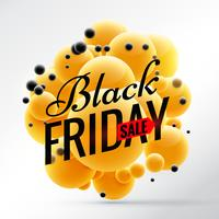 svart fredag design med ljusgula sfärer bakgrund