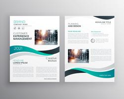 modern corporate business brochure with wavy shapes
