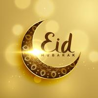 premium crescent moon with floral decoration for islamic eid fes