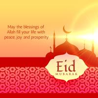 beautiful eid festival greeting background design with mosque si