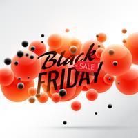 affiche de fond vente vendredi noir avec des bulles rouges et noires