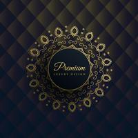 gold mandala decoration on black background in premium ethnic st