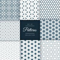 stylish abstract patterns shapes background set in different sty