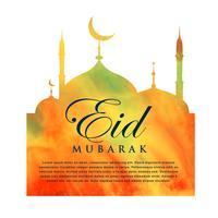 Orange Moscheeschattenbild für Eid Mubarak
