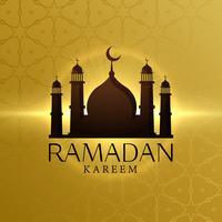 fundo de ramadan kareem bonito com silhueta de Mesquita
