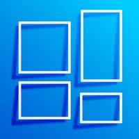 blue background with white border frames