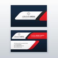 modelo de design de cartão profissional na cor vermelha e azul