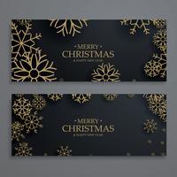 elegante modelo de banners de festival de Natal com flocos de neve de ouro