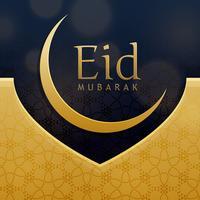 Elegante diseño de la tarjeta de felicitación del festival eid en oro premium styl