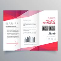 vector clean red trifold business brochure design template