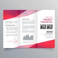vector schoon rood driebladige zakelijke brochure ontwerpsjabloon
