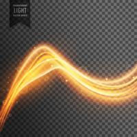 effet de lumière transparente avec une vague de feu dorée