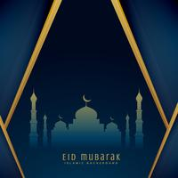 eid greeting design with mosque shape