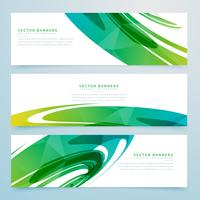 abstract green banners collection