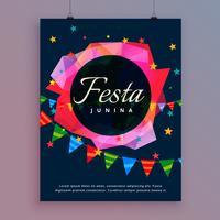 Plantilla de volante festa junina celebración fondo