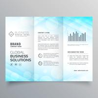 abstract blue trifold business brochure layout template design