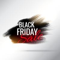 Elegante cartel de venta de viernes negro con efecto de trazo de pincel de pintura