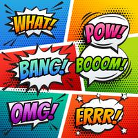 Comic sound effect speech bubble pop art i vektor tecknad stil