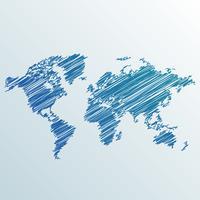 creatieve wereldkaart gemaakt met krabbel