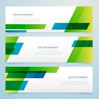 conjunto de bandeiras geométricas de estilo de negócios verdes