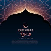 Saluto del festival di Ramadan Kareem con porta della moschea e pa islamico