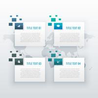 Infografik-Vorlage mit vier Schritten für Geschäftspräsentation