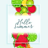 summer fruits background vector design