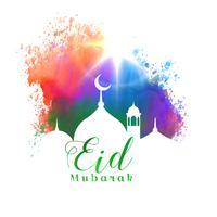 hermoso diseño de tarjeta de felicitación islámica festival eid mubarak