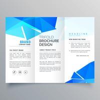 abstracte geometrische blauwe vormen driebladige brochure sjabloon