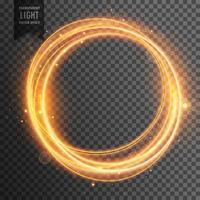 circular golden light effect transparent background