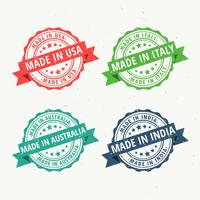 set of rubber stamps for made in usa, australia, india and italy