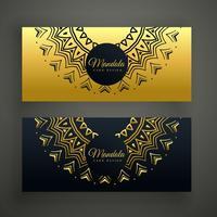 schwarzer und goldener Mandala-Dekorationsfahnen-Designhintergrund