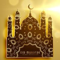 bela mesquita design com decoração dourada para eid mubarak