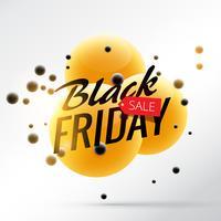 fundo preto venda de sexta-feira com esferas brilhantes amarelas e pretas