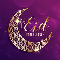 beautiful gold moon eid mubarak festival greeting background