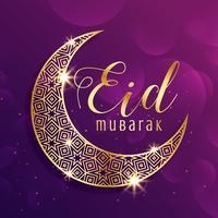 linda lua de ouro eid mubarak festival saudação fundo