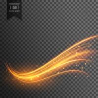 Efecto de luz transparente con estilo en forma ondulada con trail y sp