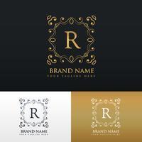 logo de cadre de bordure monogramme floral pour la lettre R