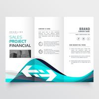 awesome blue trifold business brochure leaflet flyer design