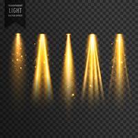 realistische Bühnenbeleuchtung oder Konzertscheinwerfer Vektor transparent