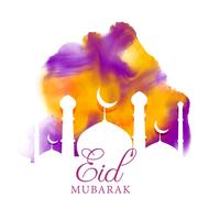 creative eid greeting with watercolor effect